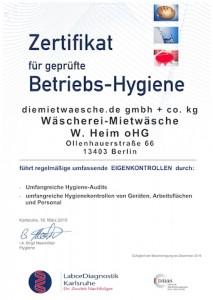 Zertifikat Betriebshygiene 2015