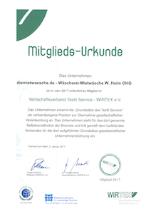 Wirtex Urkunde 2018